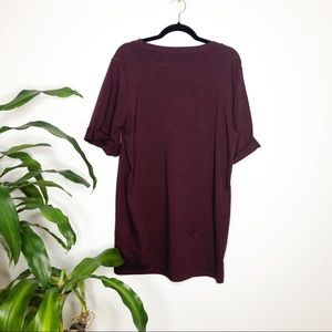 audrey Dresses - Audrey Burgundy T-Shirt dress w/ rolled sleeves